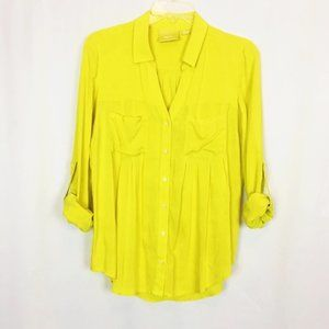 Anthro- Maeve chartreuse yellow button up top XS